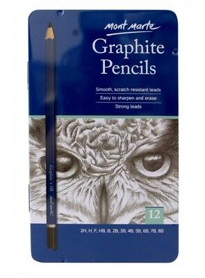 Mont Marte Graphite Pencils 12pce Drawing Writing Sketching