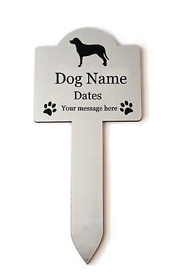 Personalised Pet Dog Memorial Plaque Stake SILVER - Outdoor Garden Waterproof