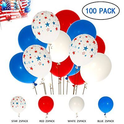 Decorations Star Latex Balloons Party Supplies- Red,Blue, White & Star (100pack)