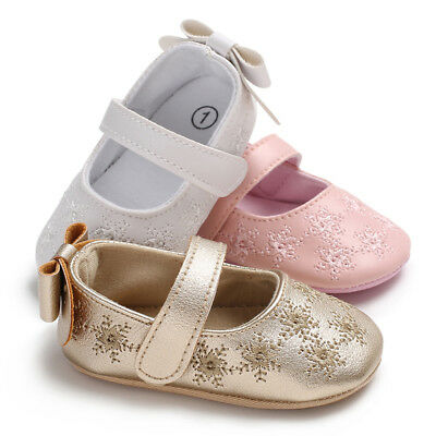 Baby Infant Toddler Shoes Girls Soft Sole Sneaker Leather Shoes Size 0-18M US
