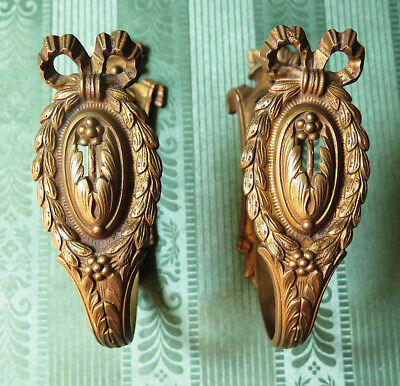 A  Pair Of Classical Rustic Antique  Brass Curtain Tie Back Hooks