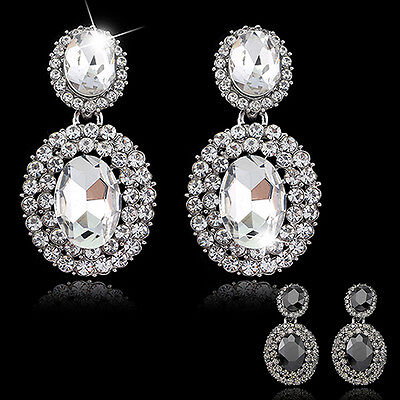 BU_ HK- Women's Vintage Luxury Oval Rhinestone Statement Drop Dangle Earrings Je