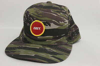 Obey Tiger Stripe Camouflage Snapback Adjustable Baseball Hat Camo Cap Red  Logo e26fe24200e