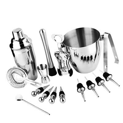 16Pc/set Stainless Steel Cocktail Shaker Mixer Drink Bartender Bar Tools Kit