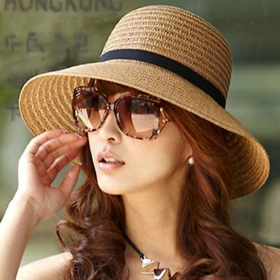 b47e07dc1e1 Fashion Women s Fedora Straw Wide Upturn Brim Bowler Summer Beach Cap Sun  Hat XP