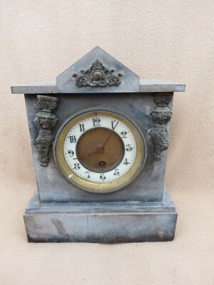 Small Antique French Slate Timepiece Mantel Clock For Restoration