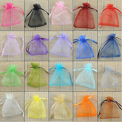 BU_ 100 Pcs Organza Wedding Favors Gift Jewelry Candy Beads Drawstring Pouch Bag