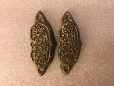 Lot #251 Vintage Ornate Brass Matching Bin Pulls