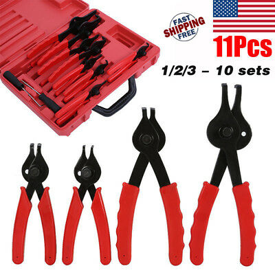 11pc SNAP RING CIRCLIP PLIERS CLIPS SAFETY RINGS INTERNAL EXTERNAL REMOVER SET T