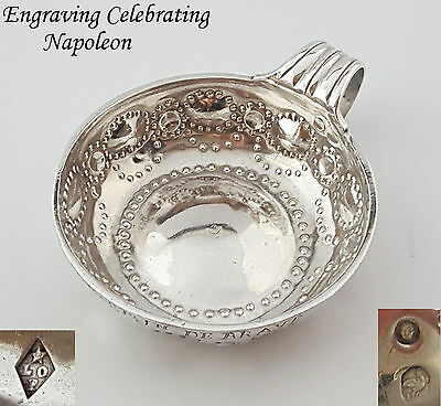 French Antique Sterling Silver Wine Tasting Cup Tastevin 18th/19th Cent Napoleon