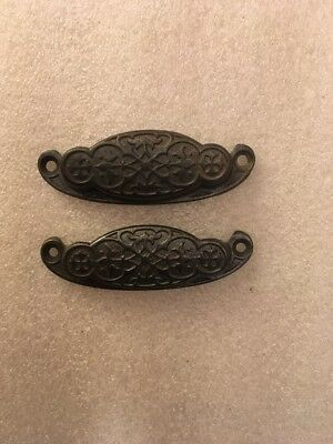 Lot #252 Matching Antique Iron Bin Pulls Ornate