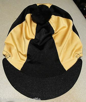 Lycra Riding Hat Silk Skull cap Cover BLACK & GOLD  With OR w/o Pompom