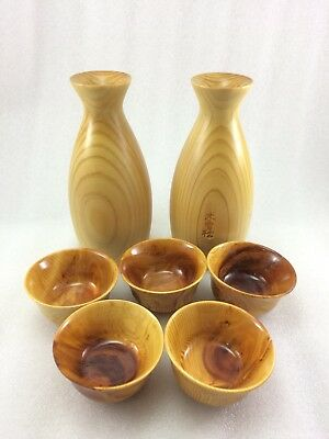 A53 Vintage Japanese Wooden Wood Sake Bottle Cup 7 Pcs Signed