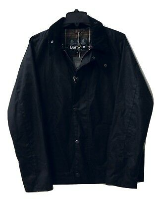 Men's Barbour Heskin Waxed Cotton Jacket NWT Navy Blue $349