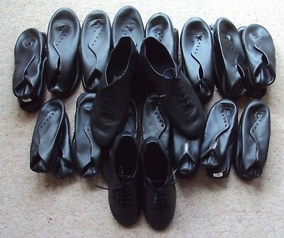 Jazz Shoes Black Leather Full Sole Stage Musical Theatre Dance Various Sizes NEW