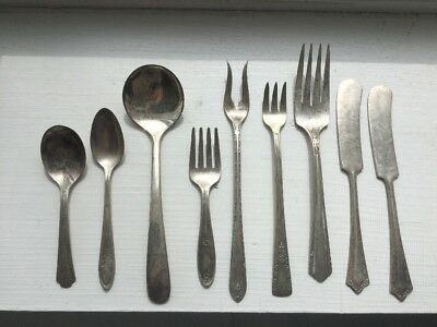 Vintage silverware Lot 9 Antique Mini Spoon Fork Knife Silver Plated