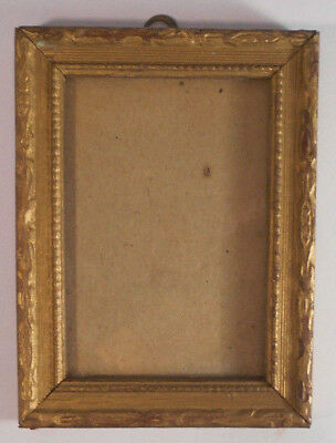 SMALL Victorian ANTIQUE Picture Painting FRAME-carved WOOD-gold gilt finish 4x3