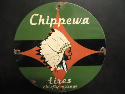 OLD 1953 CHIPPEWA TIREs COMPANY PORCELAIN  SERVICE STATION SIGN