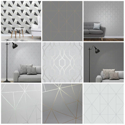 Grey Wallpaper | Feature Wall | Fine Decor Apex | Geometric | Trellis | Metallic