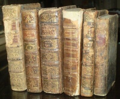LOT OF 6, BEAUTIFUL ANTIQUE 18th CENTURY LEATHER BOUND BOOKS, ALL FROM 1720-1789