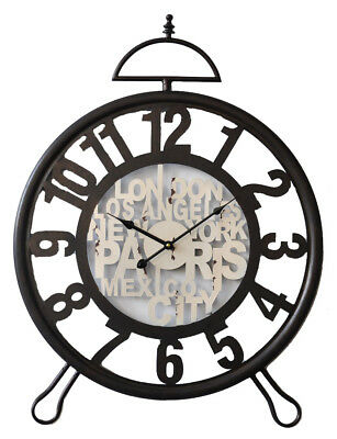 Clock French Country Vintage Wall Black Wrought Iron Travel Alarm Style 75x57...