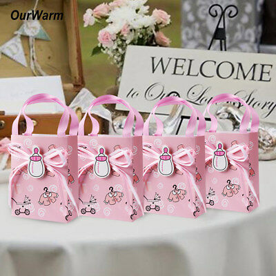12PCS Baby Shower Candy Boxes Sweet Gifts Bag Baptism Christening Party Favour