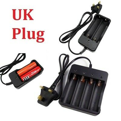 2/4 Slots 18650 3.7V Li-ion Battery Charger Rechargeable UK Plug For LED Torch