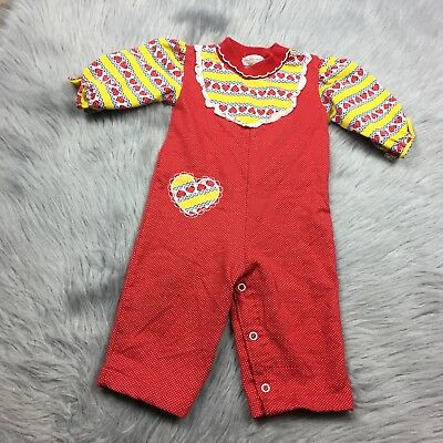Vintage Baby Girls Healthtex Romper Red Yellow Lace Hearts