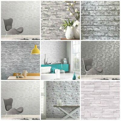 Grey Wallpaper | Brick Stone Slate Wood | Feature Wall | 3D Wallpaper