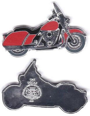 UNCIRCULATED 2007 Somalia Republic enameled red motorcycle shaped $1 dollar coin