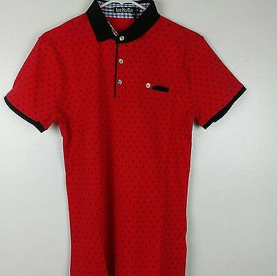 f26d43449 Lee HanTon Mens Polo Shirt Size Small Red Navy Trim Diamond 3 Button New  Tags