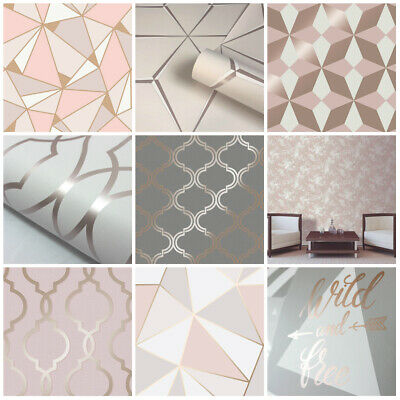 Rose Gold Wallpaper | Geometric | Marble | Trending | Feature Wall