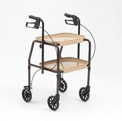 Walker Rollator Handy Trolley With Tray And Brakes Height Adjustable Walking Aid