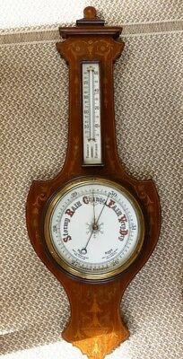 Antique English Barometer Thermometer w/ Marquetry Inlay - Very Nice !!