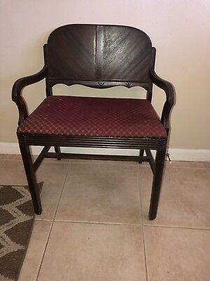 Antique Vintage art deco Inlaid Waterfall vanity bench piano seat stool chair
