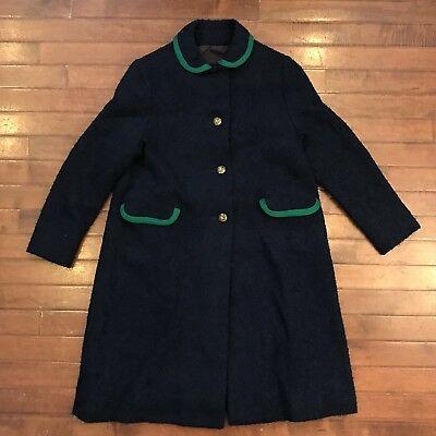 Coatcraft Womens Small Vintage 60s Navy/Emerald Nubby Boucle Wool Coat