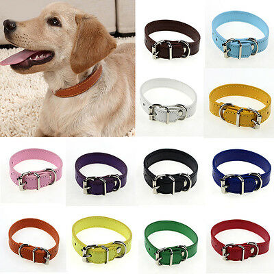 BU_ HK- Adjustable Small Pet Dog Faux leather Collar Puppy Cat Buckle Neck Strap