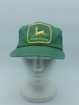 Vtg John Deere Farm Tractor Green Patch Fabric Snapback Hat by K Products USA