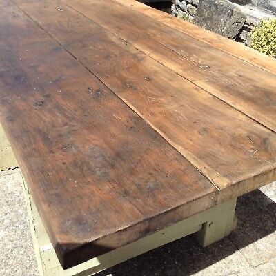 vintage Industrial Farmhouse  Oak Top Table