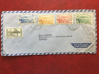 1955 New Hebrides nice 5 stamps franking Air Mail cover to Hungary