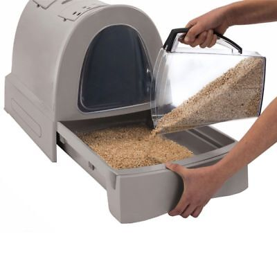 large cat litter box swing door tray mat filter corner kitten easy clean toilet