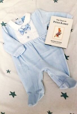 Traditional Spanish Style Baby Boys Velour Smocked Babygrow - Blue