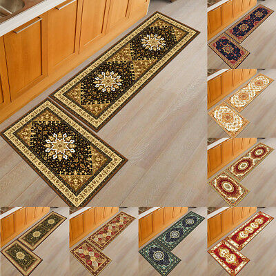 BU_ European Floral Soft Kitchen Door Mat Anti-slip Floor Rug Bathroom Carpet Ey