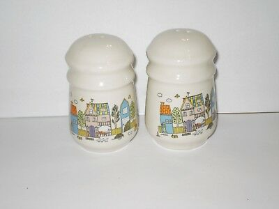 Vintage White Town Ceramic Salt N Pepper Shakers  1970's