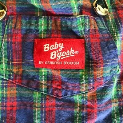 Baby Bgosh Vintage Overalls Red Blue Green Plaid 18 24 months Oshkosh Retro
