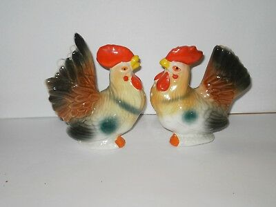 Vintage Rooster Ceramic Salt N Pepper Shakers  1970's