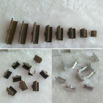 BU_ HK- 20 Pcs Ribbon Clamps Crimp Ends Bail Connector for DIY Jewelry Findings