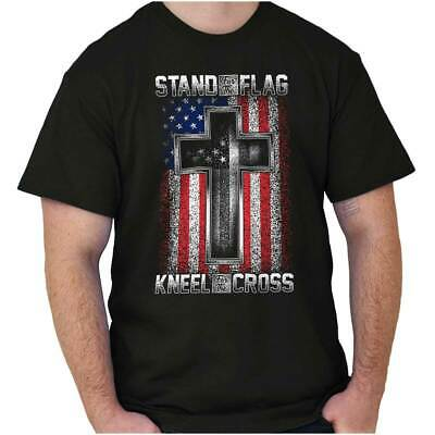 Stand for the Flag Kneel for the Cross Christian American T Shirt Tee For Men