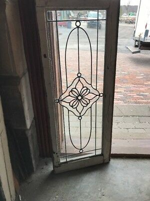SG 2088 antique leaded glass transom window flower 15.75 x 39.5