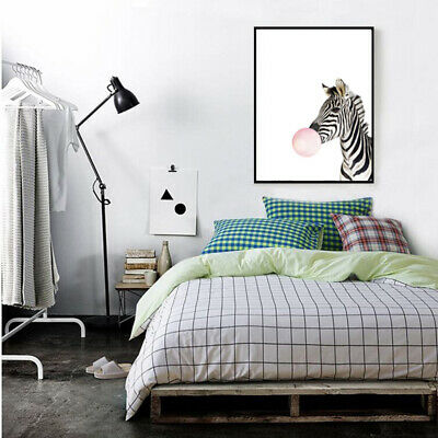 Kawaii Animal zebra Nordic Canvas Painting Art Print Poster Wall Picture Ro G3Y6